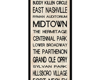 "Nashville Subway Sign Bus Scroll 12"" x 36"" Poster Prinvintage"