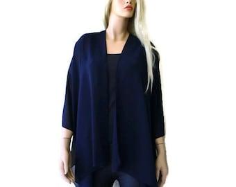 NavyBlue Boho Kimono/ Kimono cardigan-Solid Dark Navy blue Lagenlook chiffon kimono- Great for weddings and bridesmaids