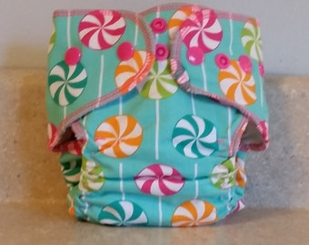 Fitted Preemie Newborn Cloth Diaper- 4 to 9 pounds- Lollipops- 16025