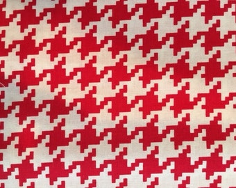 Michael Miller Red Every Day Houndstooth   1 yard  SUPER SALE