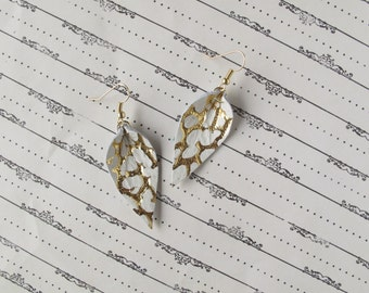 Gold Threaded White Leather Leaf Earrings