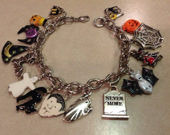 Upcycled Halloween Spooky Silver Charm Bracelet