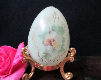 Vintage Friendship Egg with Stand, Easter Egg, Decorative Egg with Pansy motif