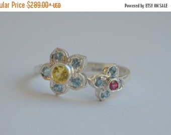 SALE Victorian Inspired Two Flower Open Ring in Argentium Silver with Zircon, Chrysoberyl and Spinel