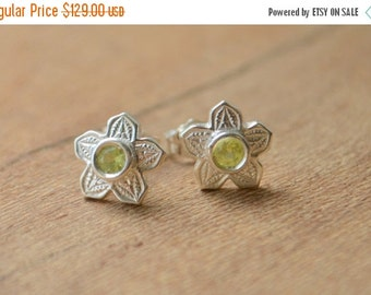 SALE Victorian Flower Earrings in Argentium Silver with Chrysoberyl