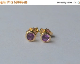 SALE 3mm Unheated Pink Sapphire Stud Earrings in 14K Yellow Gold Martini Bezels