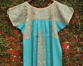 Light Aqua  with Antique gold Embrodery Mexican Wedding Dress