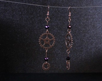 Steampunk Gear dangle Antiqued Copper gear earrings with Black glass beads