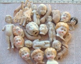 Antique Doll Heads Body Parts Destash Lot Repair