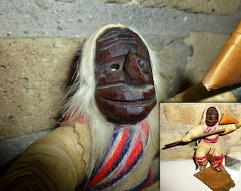 Vintage Native American Iroqrafts Corn Husk Doll w/Mask. Iroquois False Face Medicine Society Dancer. Hang Tag. Six Nations Indian & Inuit