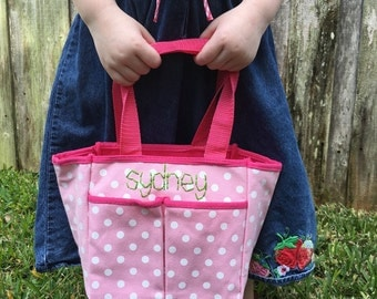 Personalized Tote Bag, Personaized Girls Purse, Embroidered Name Canvas Tote Bag, Gift Bag, Pink Polka Dot, Library Bag, Baby