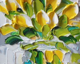 Home Decor , Painting Original , White and yellow tulips Canvas
