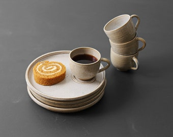 Studio Pottery Tea Cup and Small Plate Setting - S/4