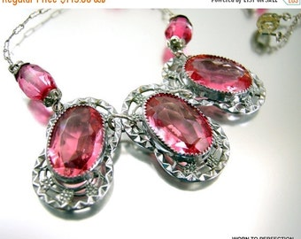 Love Yourself Sale Art Deco Pink Glass Rhodium Plated Necklace