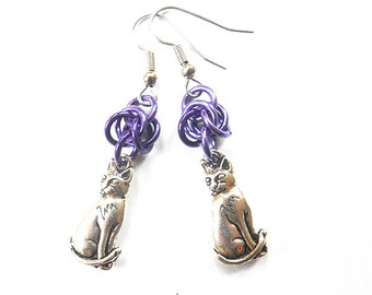 Purple cat earrings, Chainmaille earrings, Silver cat jewelry, Purple kitty earrings