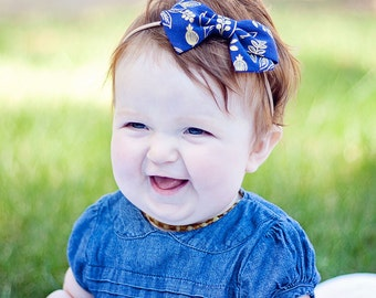 Hair Bow, Bow Headband, Headband, Headbands, Fabric Hair Bow, Baby Bow, Bow,  Alligator Clip, Rifle Paper Co - Queen Anne In Navy And Gold
