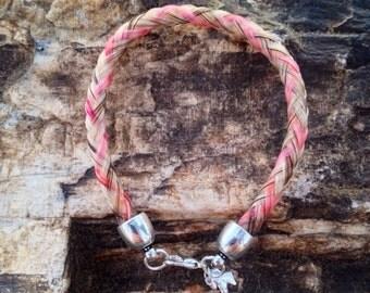 7.5 Inch Flaxen & Pink Horse Hair Braided Horsehair Bracelet - 6MM Round Braid