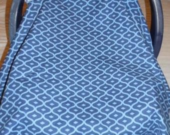 Navy and Light Blue Geo Design Cotton and Sky Blue Cuddle Baby Carrier Cover