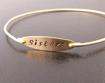 Sisters Bracelet, Sister Gift, Christmas Gift for Sister In Law, Christmas Gift, Present for Sister, Present Holidays, Hand Stamped Bracelet
