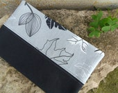 Fabric cover for Moleskine cahiers with leaves. Grey and black Moleskine for nature lovers