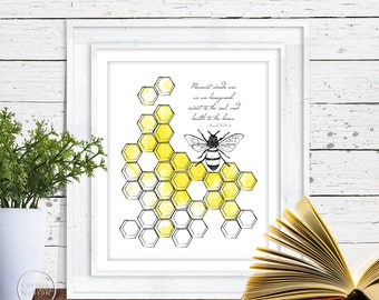 Bee and Honeycomb Proverbs Christian Art - 8x10 Wall Art Instant Printable