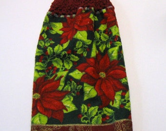 Poinsettia, Hanging Towel, Kitchen supplies, Hostess Gift, Handmade Christmas Gift, by NormasTreasures