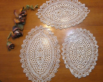 Tatting, 3 Doilies, Oval, White, As Is, Shabby Chic, French Country, Cottage Style