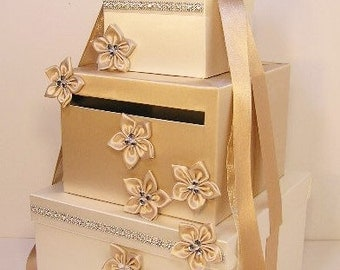 Wedding  Card Box Champagne and Ivory Gift Card Box Money Box Holder-Customize your color