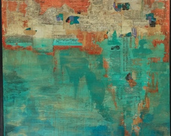 Urban Decay Painting Art Abstract Mixed Media Large