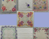 Vintage Hankies lot of 7 floral handkerchiefs with flowers