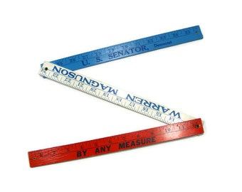 Warren Magnuson Folding Ruler Yard Stick red white blue Democratic Senator