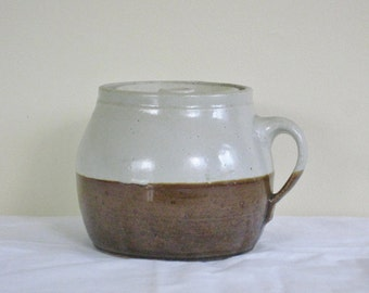 Vintage Stoneware Pottery Bean Pot, Two tone Crock with Lid, Single Loop Handle  Kitchen Ware Storage Container
