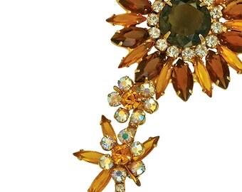 Vintage !960s Large Amber Delizza & Elster Flower Brooch