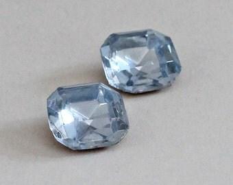 4 Vintage Rhinestones 14mm Light Sapphire Octagon Square Glass Jewel