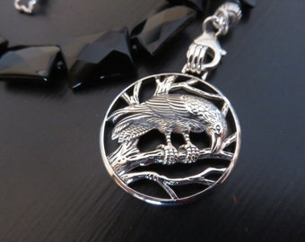 Large Sterling Silver Raven necklace Black Onyx beads Peter Stone pendant