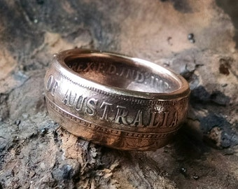 Copper Coin Ring - 1921Australia One Penny Coin Ring - Size: 8
