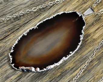Agate Necklace, Brown Agate Necklace, Brown Agate Pendant, Natural Agate Pendant,Natrual Agate Slice, Silver Necklace, Sterling Silver Chain