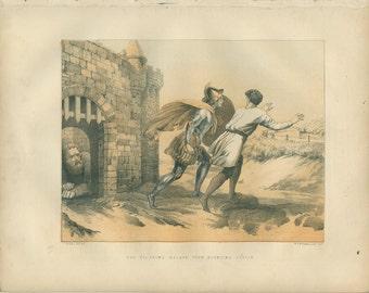 Pilgrim's Progress, Pilgrims Escape Doubting Castle, John Bunyan, Chromolithograph 1868/93, Victorian Religious Art, Christian Wall Art