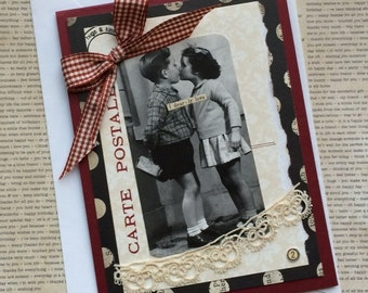 SPECIAL SALE PRICE Vintage Photo Kissing Children Handmade Card