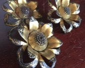 Set of 3 Vintage Metal Curtain Pins, Tiebacks, Pinbacks. Floral Pins. Altered Art.