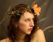 Peach Light up flower crown LED Halo headband circlet headdress small large, Braided Vine, Rose Hairband, Festival, Boho Flower Headband