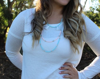 Layered Pastel Tassel Necklace.