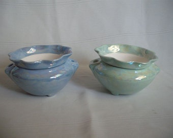 Ceramic African Violet Pot/ Planter / Mother of Pearl/set of 2 Extra Small #2
