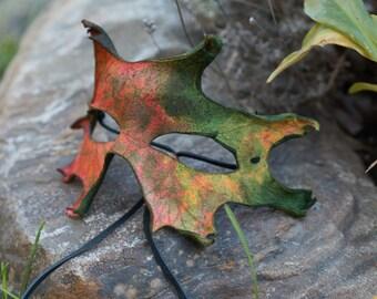 Autumn Oak Leaf Split Leather Mask