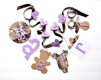 Purple Realtree Camo baby shower decorations It's a girl banner by ParkersPrints on Etsy