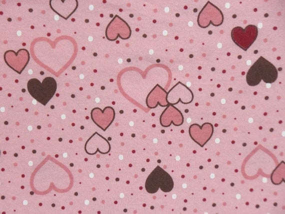 Kids cotton knit fabric hearts polka dots in pink brown for Kids knit fabric