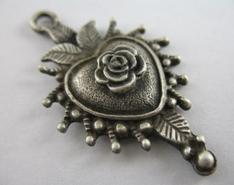 Silver Pendant Sacred Heart Milagros Rose Religious Medal Jewelry Supplies GL7