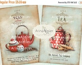 30% OFF SALE - CARDS Shabby Chic Tea - collage cards - collage kitchen decor - illustrations - digital collage sheet - shabby chic tea - tea