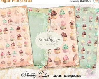 30% OFF SALE Shabby Cupcakes Digital Papers - Backgrounds - digital collage sheet - set of 4 - Printable Download