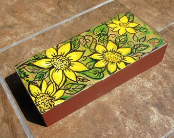 Original Painting on Wooden Panel, Sunflowers